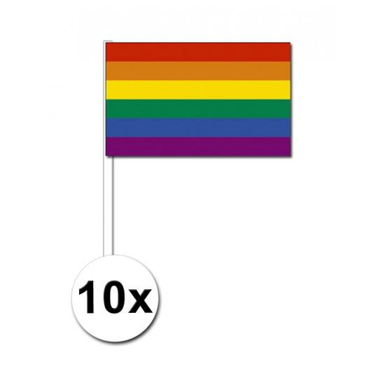 10 regenboog zwaai vlaggetjes 12 x 24 cm