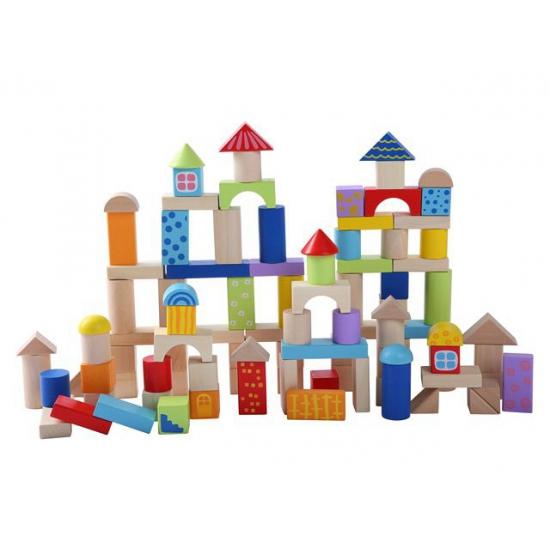 100 houten blokken in een emmer
