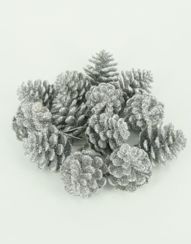 18 Zilveren glitter dennenappels 5 cm