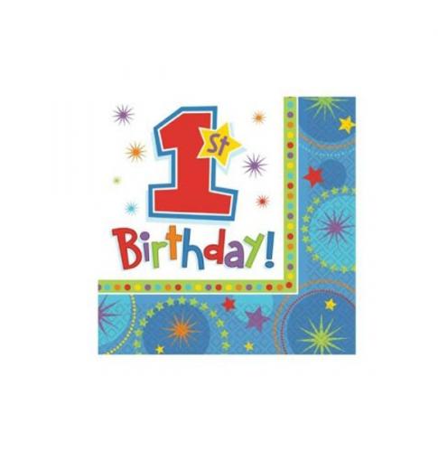 1e verjaardag servetten blauw