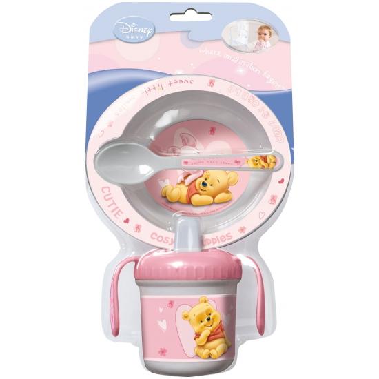3 delige roze servies set van Winnie de Pooh