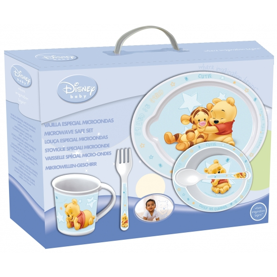 5 delige blauwe servies set van Winnie de Pooh