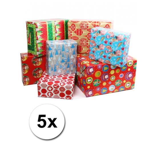 5 rollen kadopapier kerstmis