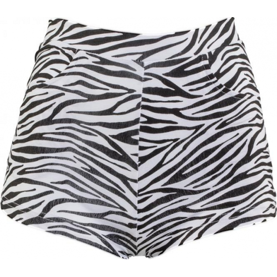 70s style high waist hotpants zebra print