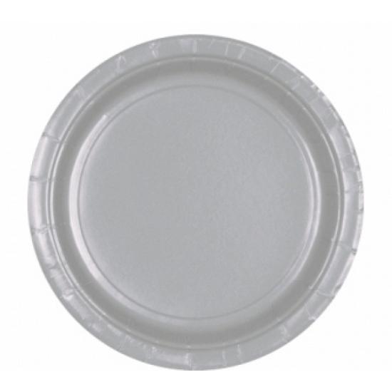 Acht wegwerp bordjes zilver