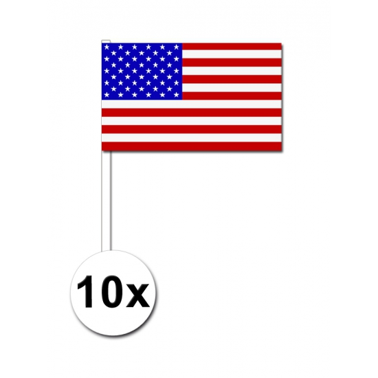 Amerika zwaai vlaggetjes 10 stuks
