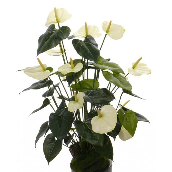 Anthurium kunstplant wit 80 cm