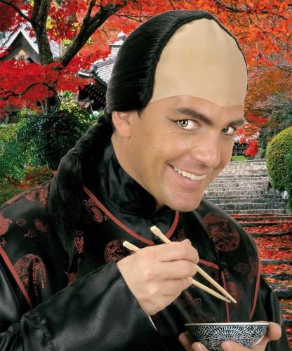 Aziatische pruik met kaal voorhoofd