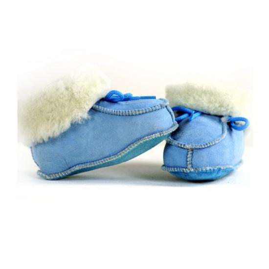 Baby sloffen blauw lamsleer