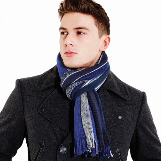 Beechfield sjaal blauw met grijs