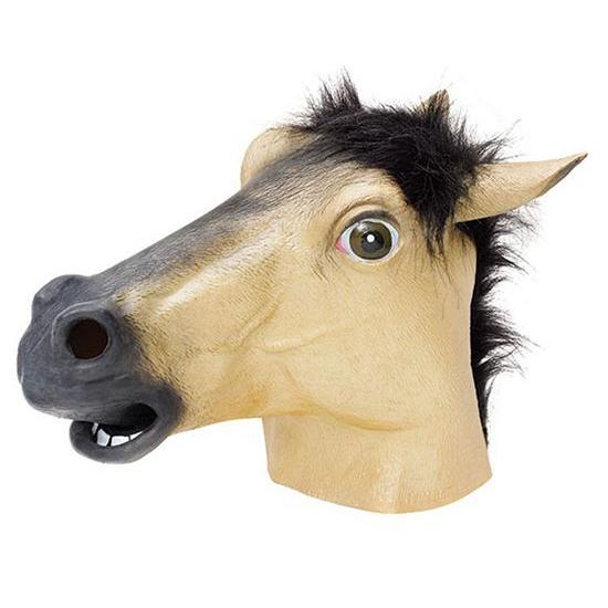 Beige paarden masker van rubber