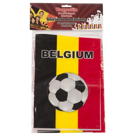 Belgie vlaggenlijn met voetbalprint Belgie