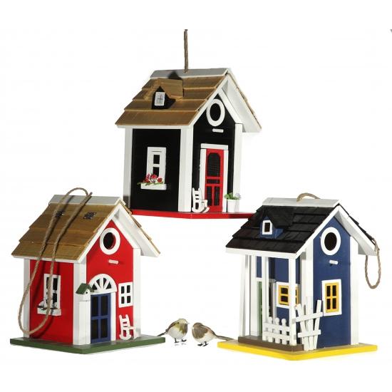 Blauw vogehuis van hout 25 cm