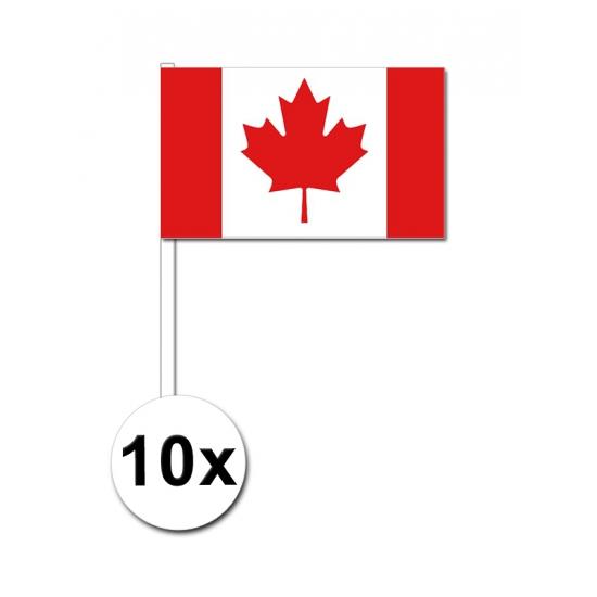 Canada zwaai vlaggetjes 10 stuks