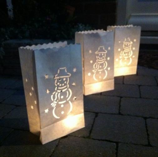 Candle Bags set wit met sneeuwman