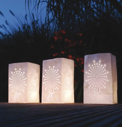 Candle Bags set wit met zon
