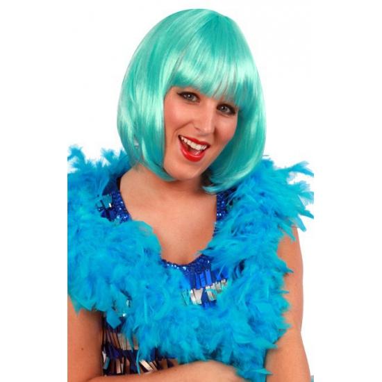 Carnaval boa turkoois blauw 180 cm