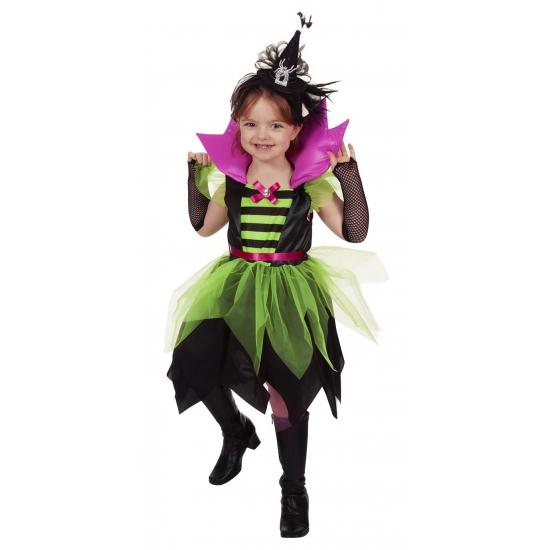 Carnaval heksen jurkje groen zwart voor meisjes