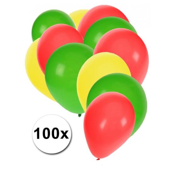 Carnavals ballonnen rood geel groen