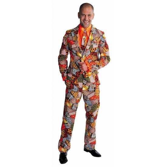 Carnavalskleding heren kostuum patchwork