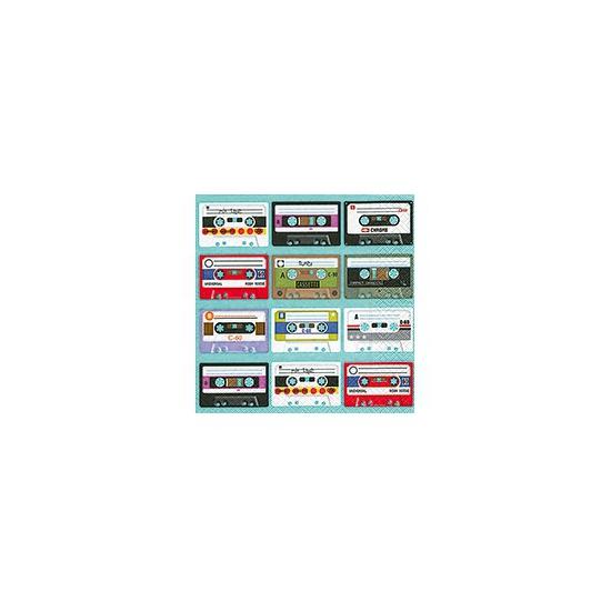 Cassette bandjes op servetten 20 stuks
