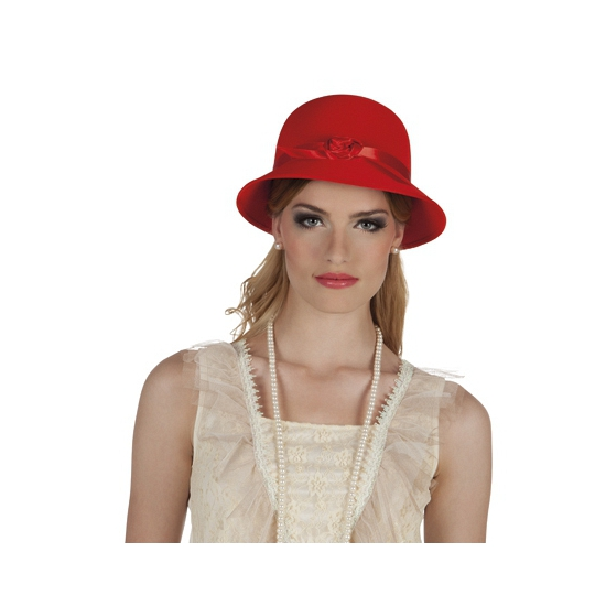 Charleston hoedje rood met lint