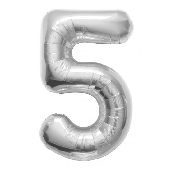 Cijfer 5 helium ballonnen zilver