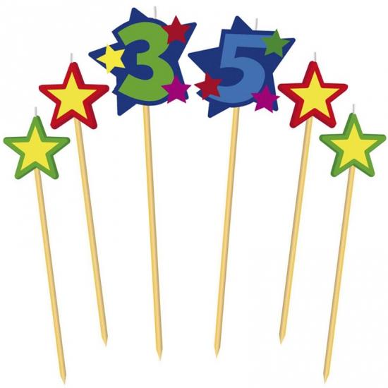 Cijfer kaarsjes op prikker 35