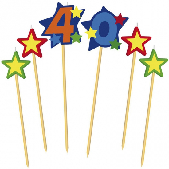 Cijfer kaarsjes op prikker 40