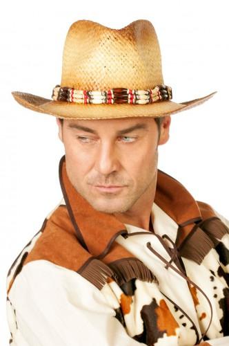 Cowboy hoed met kralen voor volwassenen