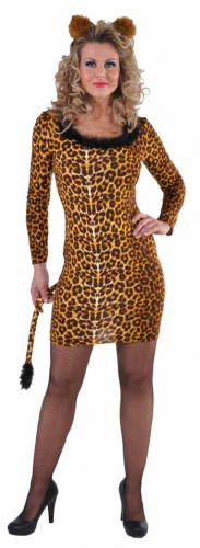 Dames luipaarden jurkje met staart