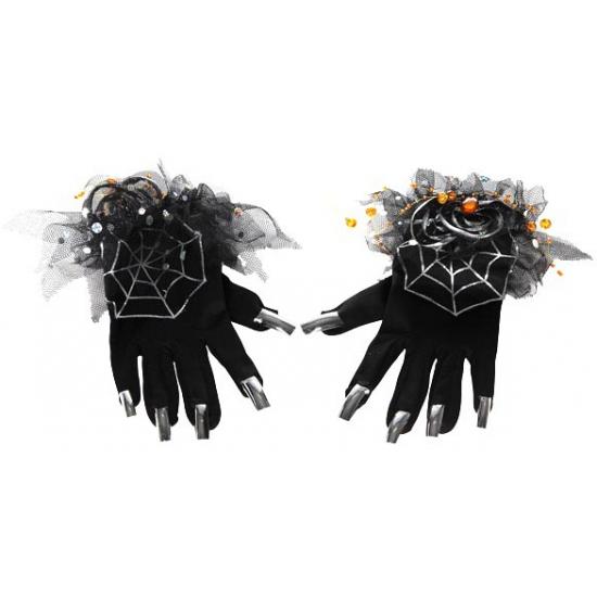 Dameshandschoen zwart met zilveren nepnagels