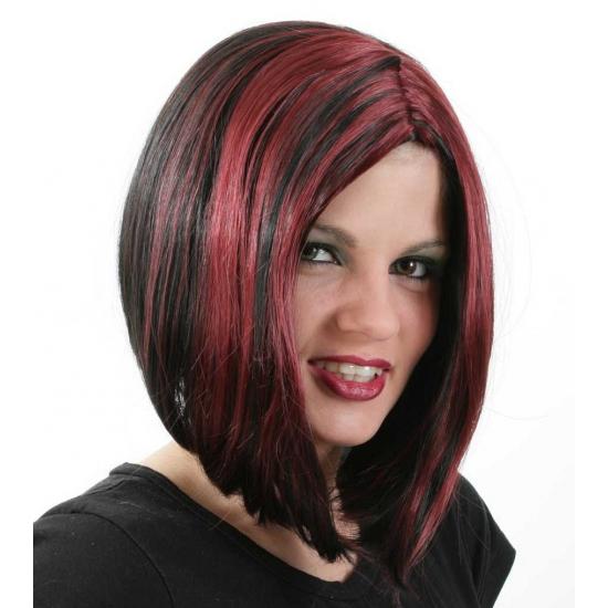 Damespruik in bob model zwart rood