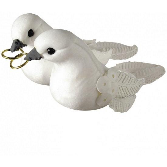 Decoratie duiven wit met pailletten 5 5 cm