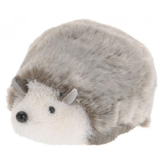 Decoratie egel grijs wit liggend 18 cm