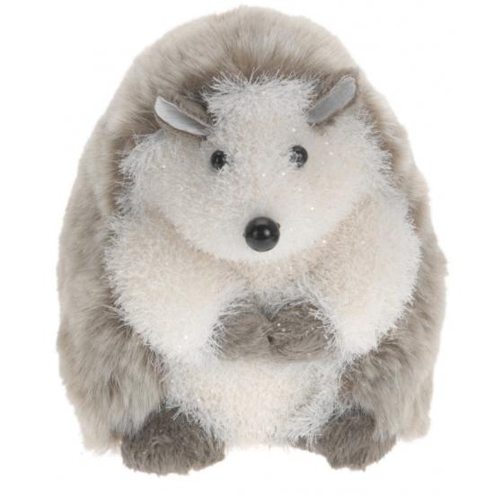 Decoratie egel grijs wit zittend 18 cm