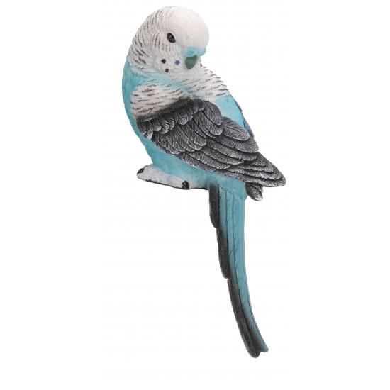 Decoratie grasparkiet blauw met wit