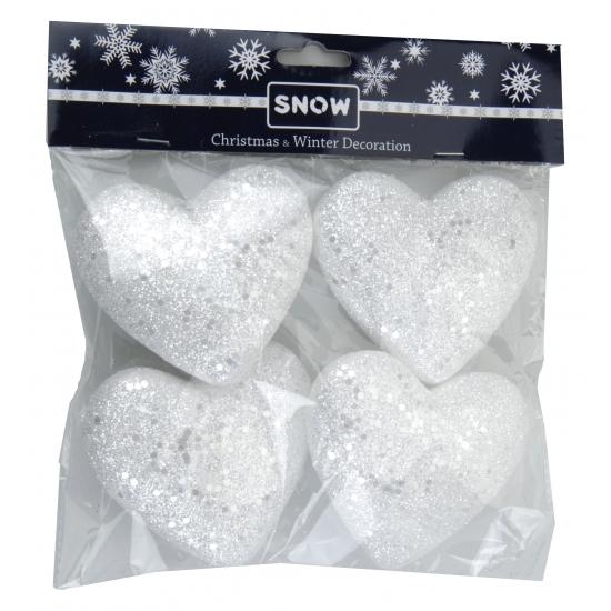 Decoratie hartjes wit glitter 4 stuks