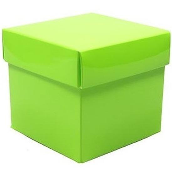 Decoratie kado doosje lime groen 10 cm