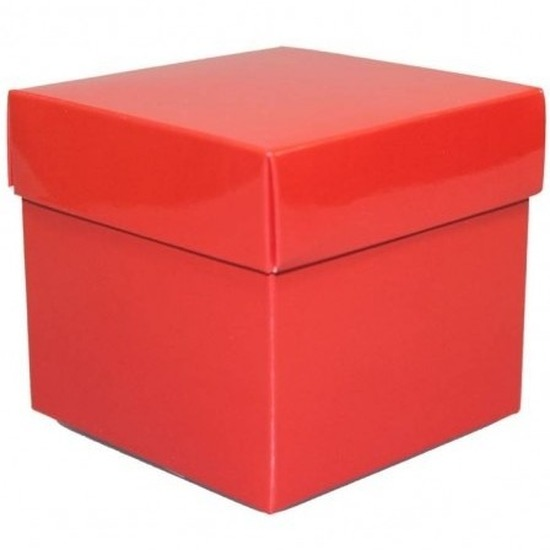 Decoratie kado doosje rood 10 cm