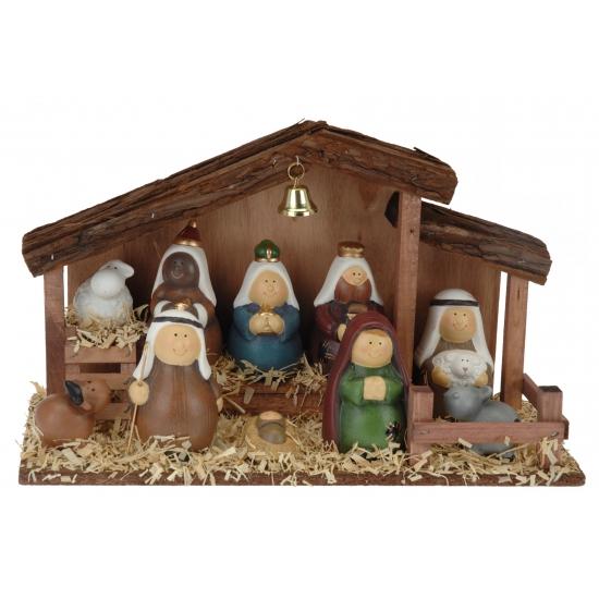 Decoratie kerststal met 10 figuren
