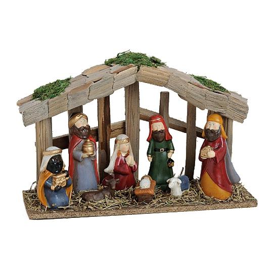 Decoratie kerststal met 8 figuren