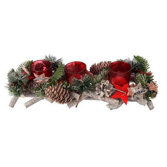 Decoratie kerststukje rood met glazen houders
