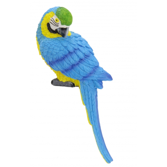 Decoratie papegaai blauw met geel
