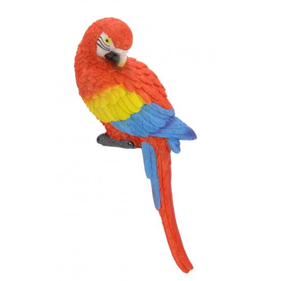 Decoratie papegaai rood gekleurd