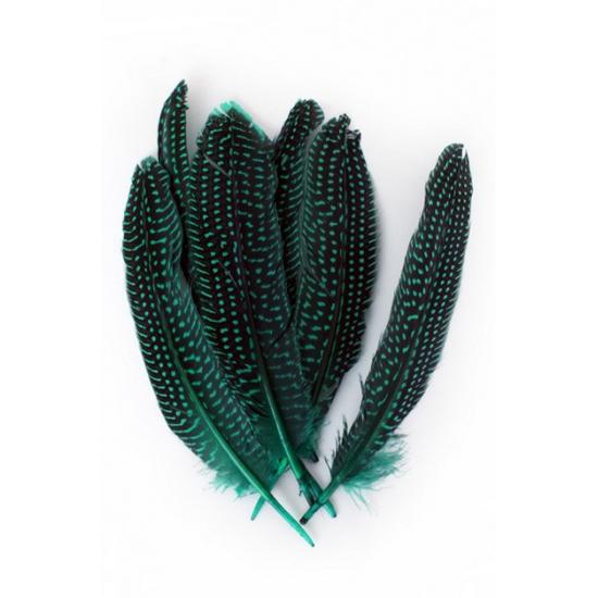 Decoratie veren groen met stippen 50 stuks