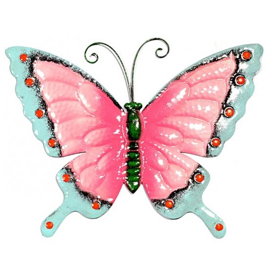 Decoratie vlinder roze blauw 30 cm
