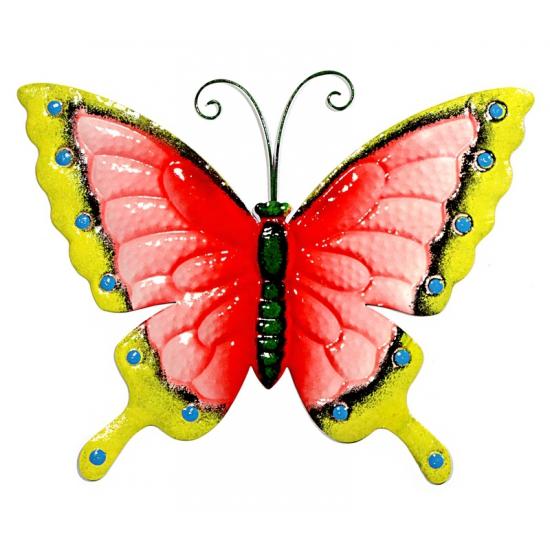 Decoratie vlinder roze geel 30 cm