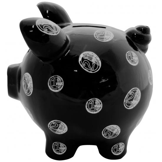 Design spaarvarken Muntgeld Print zwart 20 cm