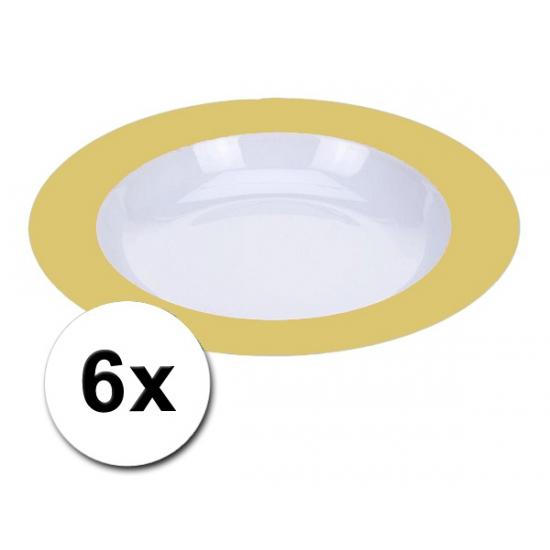 Diepe plastic borden geel 6 stuks